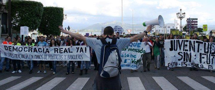 Oscar Manteca en una manifestación