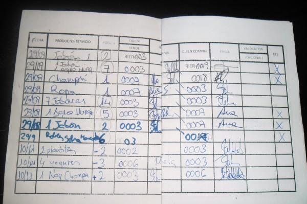 Anotaciones en la libreta de intercambio en robles.