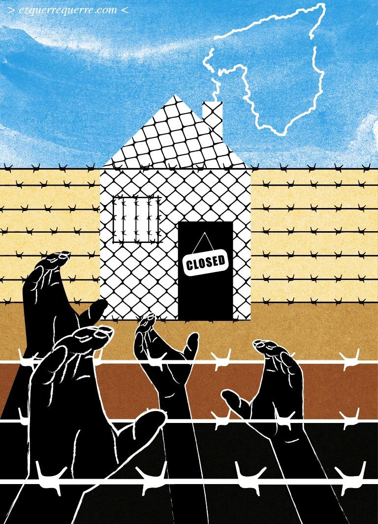 Viñeta de Lucía Ezquerre sobre inmigración y entrada de inmigrantes a través de la valla de Melilla