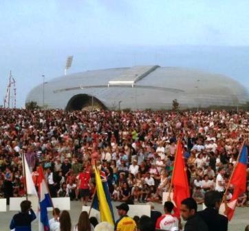 Las Llamas, abarrotado en la inauguración del Mundial