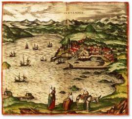 El histórico grabado de Braun, una de las primeras vistas de Santander, se realizó desde el Promontorio de San Martín