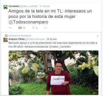 Rubén Caviedes ha difundido en Twitter el problema de Amparo