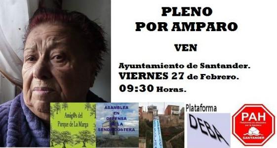 Cartel que han organizado las Plataformas que acudirán conjuntamente al Pleno a homenajear a Amparo.