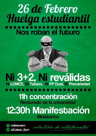 Cartel con el que el Colectivo de Estudiantes llama a la huelga este jueves 26.
