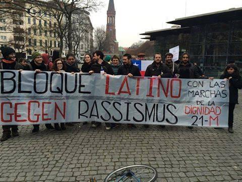 Este sábado se han unido varias asambleas en apoyo a las marchas del 22M. Esta foo corresponde a la Marea Granate de Berlín.