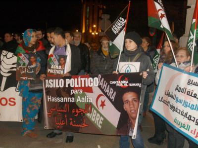 Manifestaciones de apoyo a Hassanna Aaliam Foto: Cantabria por el Sáhara.