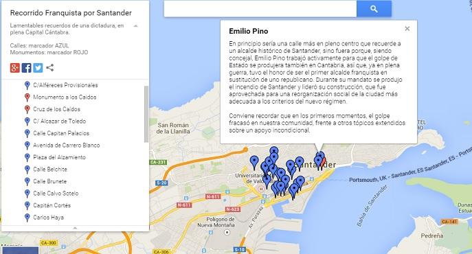 Mapa detallado de las calles franquistas de Santander.