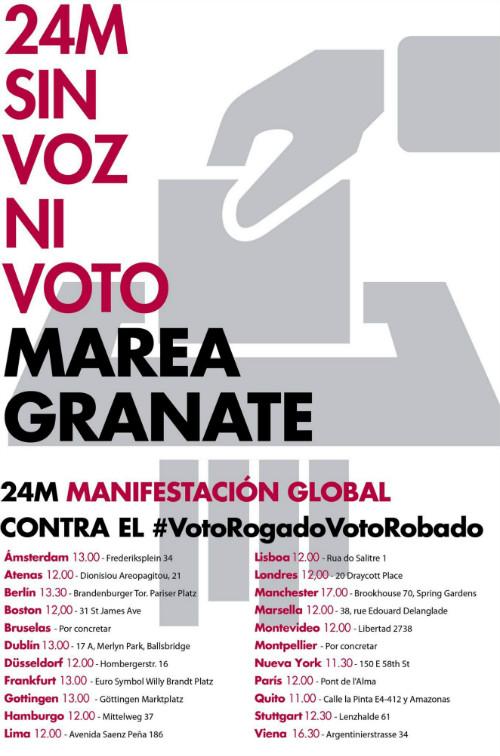 La Marea Granate se manifestará en los Consulados de varios países este 24M para denunciar el 'robo' de su voto.