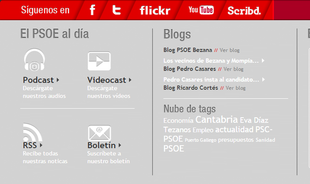 La Web del PSOE cántabro enlazaba la página de la consultora del exeurodiputado Ricardo Cortés