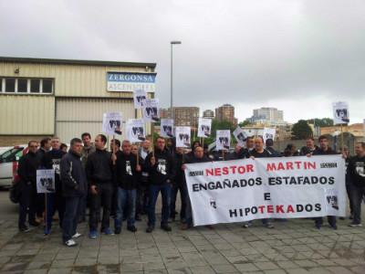 Protesta de los trabajadores de Ecomasa ante Rajoy