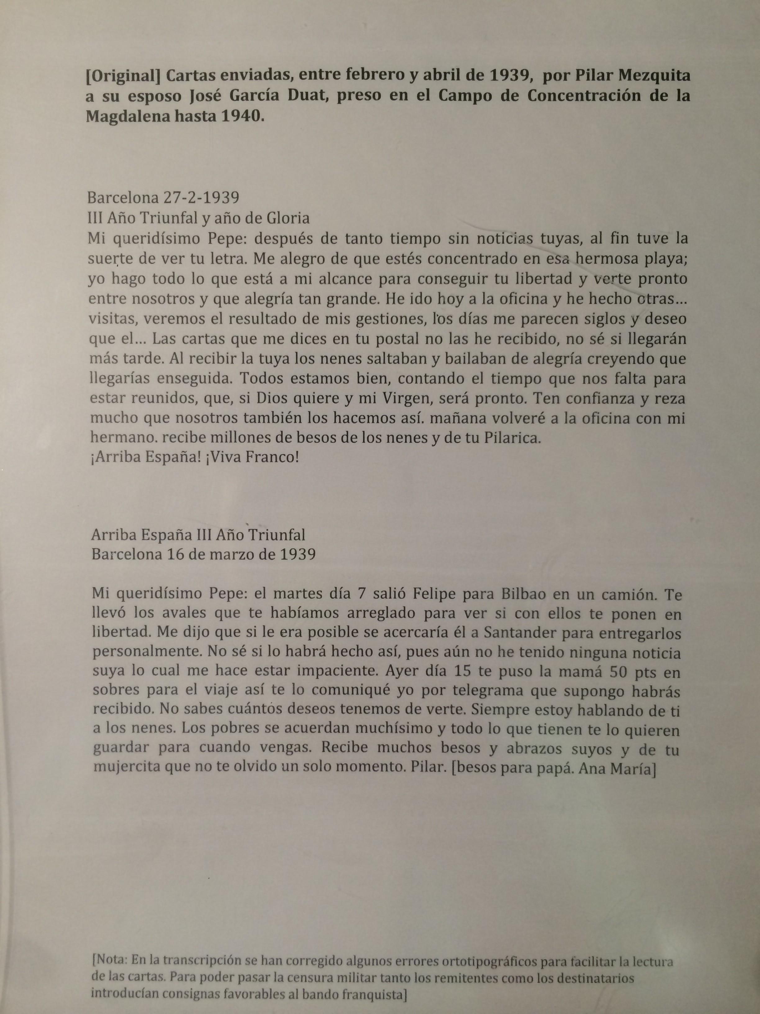 Carta enviada de una mujer a su marido preso en el campo de concentración de La Magdalena