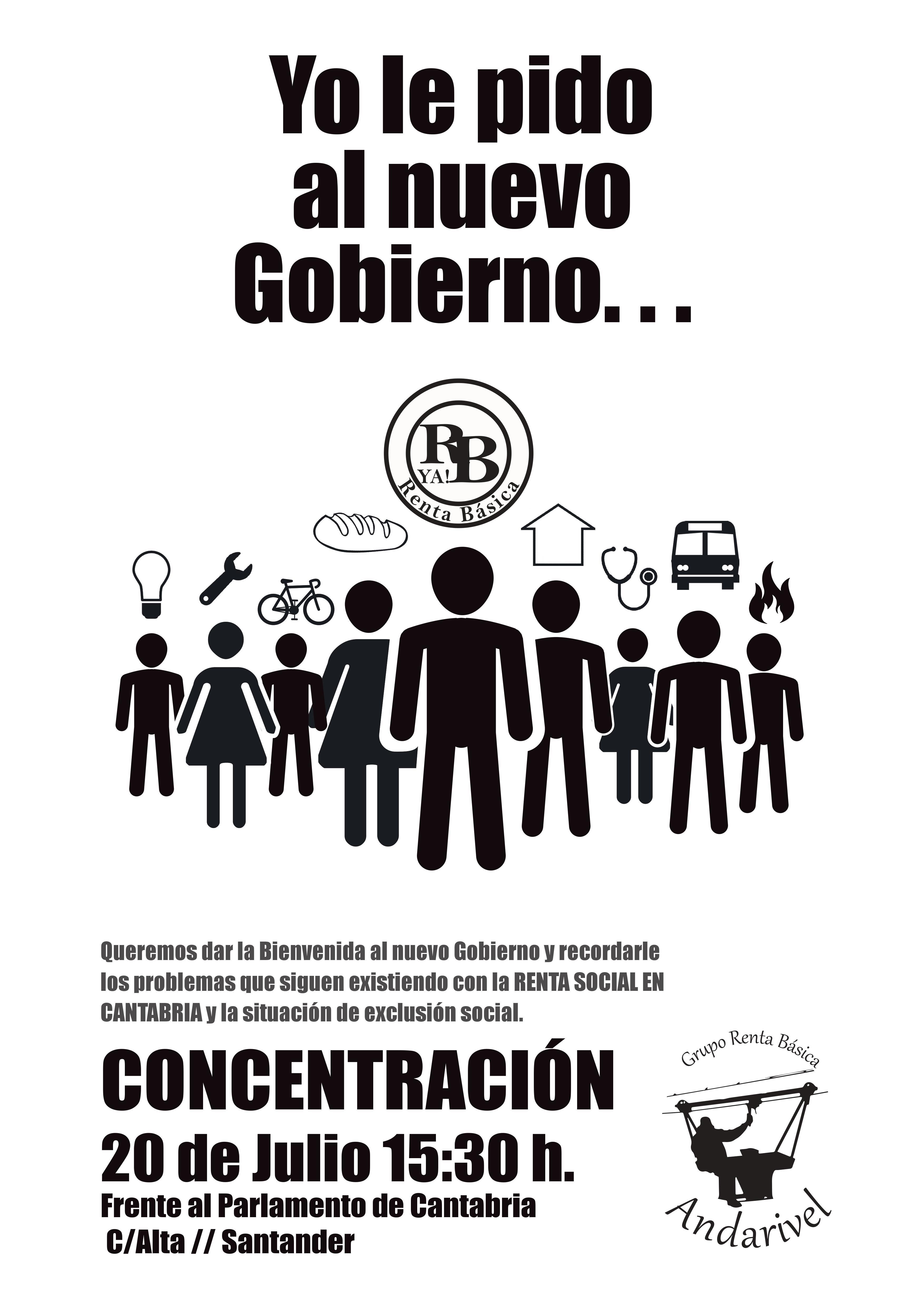 Cartel de la convocatoria del próximo lunes frente al Parlamento de Cantabria