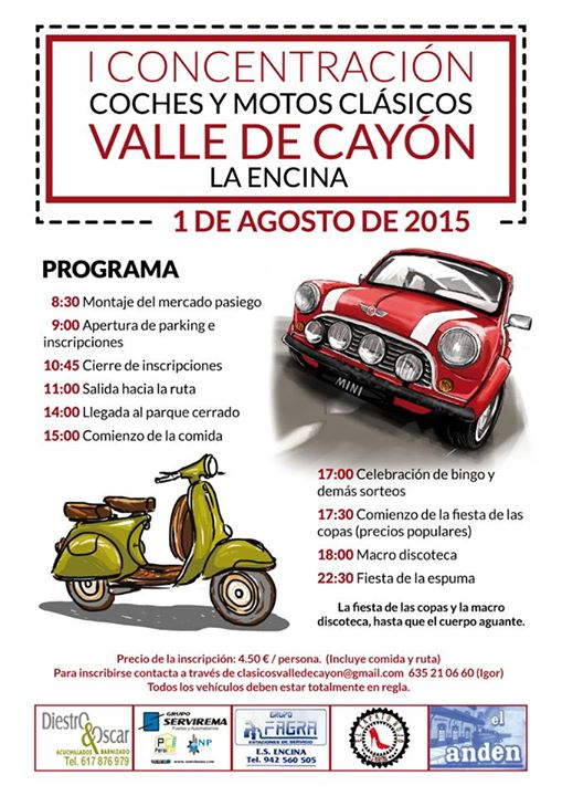 Programa de la concentración de coches clásicos de este sábado en Cayón