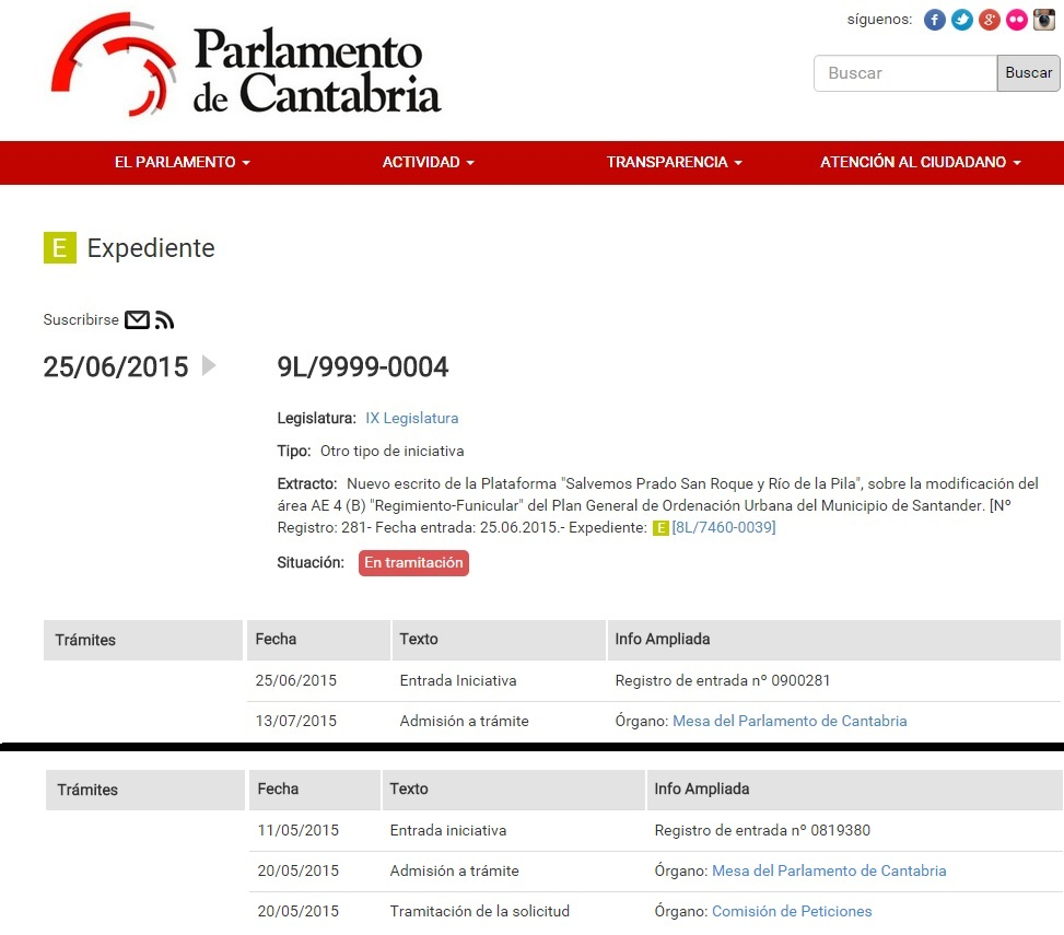 Estado actual de ambas iniciativas presentadas en el Parlamento de Cantabria.