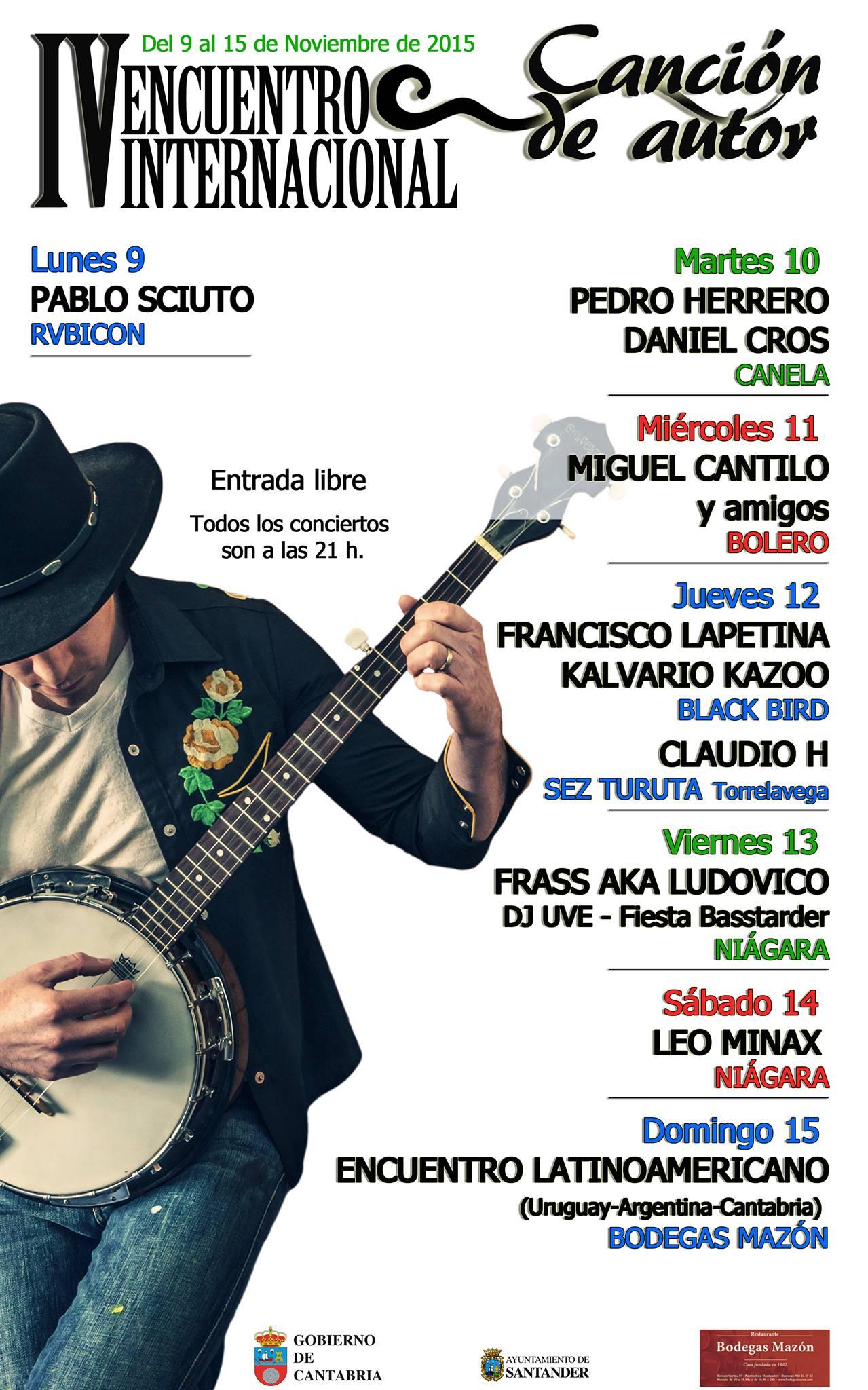 Cartel del IV Encuentro  Internacional de la Canción de Autor en Cantabria.