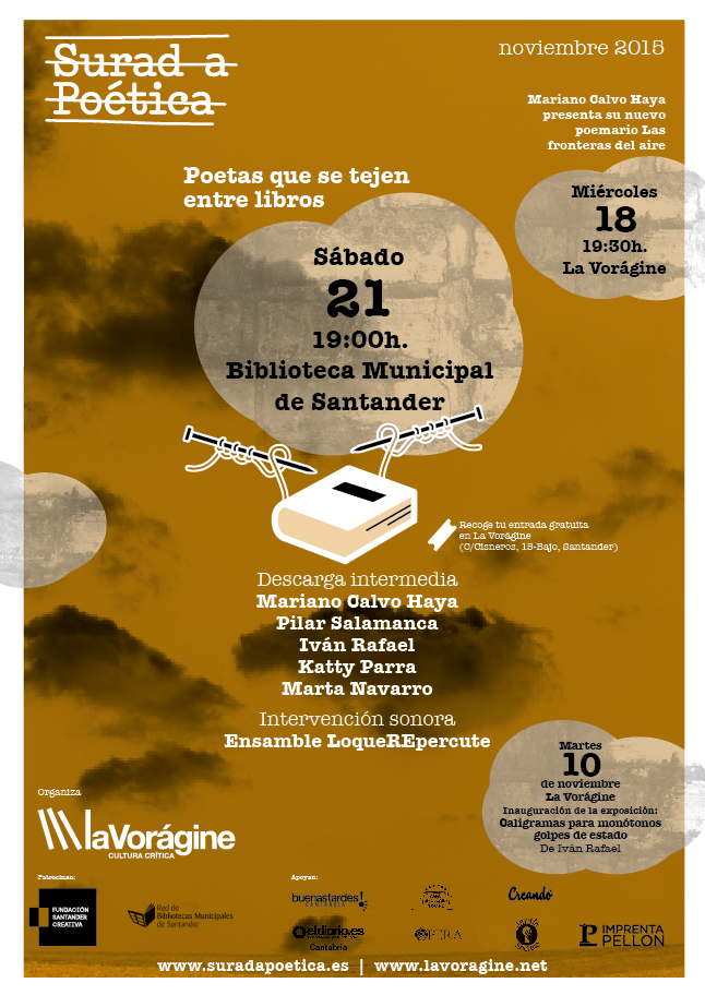 Cartel de la Surada Poética, que soplará fuerte este sábado en el Biblioteca Municipal de Santander.