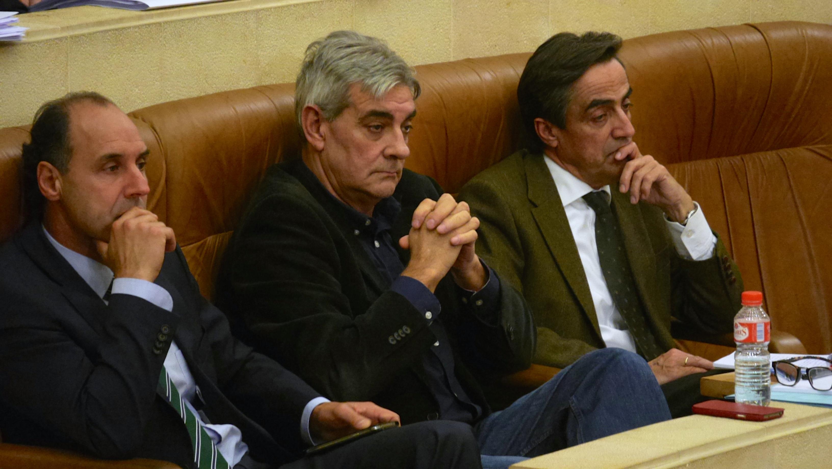 Ignacio Diego, expresidente cántabro, junto al portavoz parlamentario, Eduardo van den Eynde