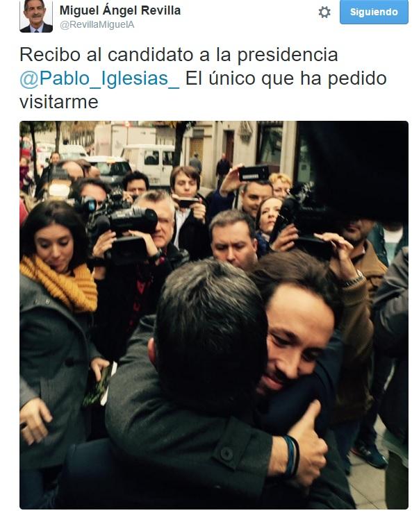 """Miguel Ángel Revilla ha destacado en su Twitter que Iglesias es """"el único que ha pedido visitarme""""."""
