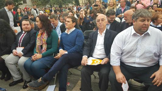 Albert Rivera y Carlos Pracht en el mitin de Santander.