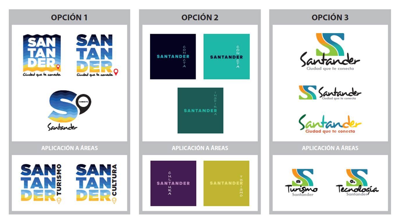 Las tres propuestas presentadas al concurso, anulado, para la marca de Santander