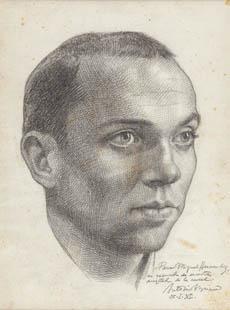 Retrato de Miguel Hernández dibujado por Buero Vallejo (Biblioteca Nacional)