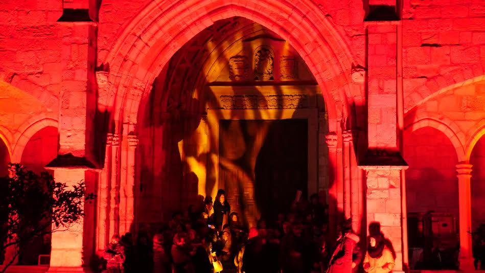 Simulación del incendio en el claustro de la catedral