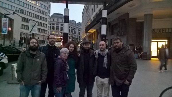 Liberados (Foto: 15M Bruselas). Israel es el segundo por la derecha