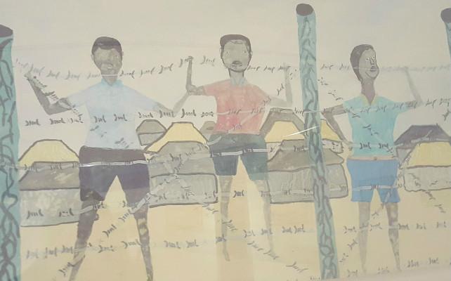 Dibujo de un niño refugiado.