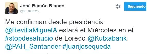 José Ramón Blanco ha confirmado por Twitter la presencia de Revilla.