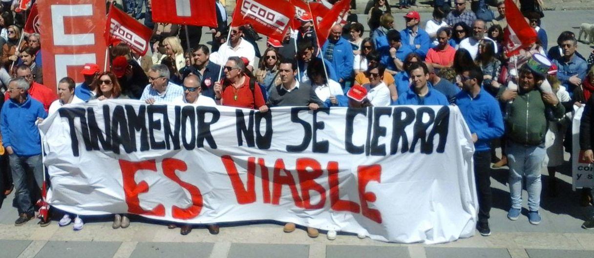 Los trabajadores de Tinamenor en el 1 de mayo