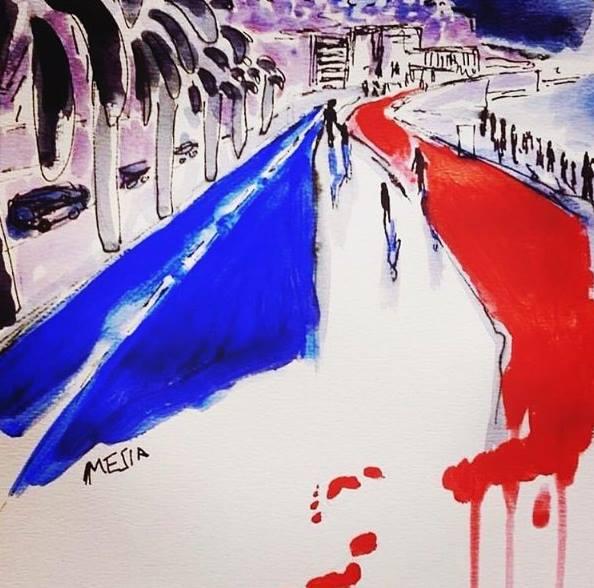 Una de los primeros montajes que han surgido en homenaje a las víctimas de este último atentado.