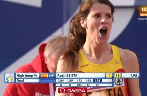 Ruth Beitia tras superar la marca de 1.98 de altura.