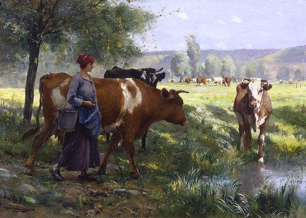 Le jeune laitière. Obra del pintor Julien Dupré