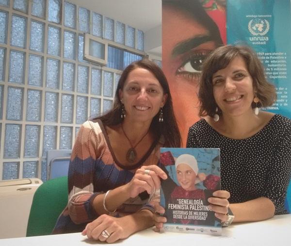 Ana Alba e Isabel Miguel (UNRWA) presentando el libro 'Genealogía feminista Palestina'.