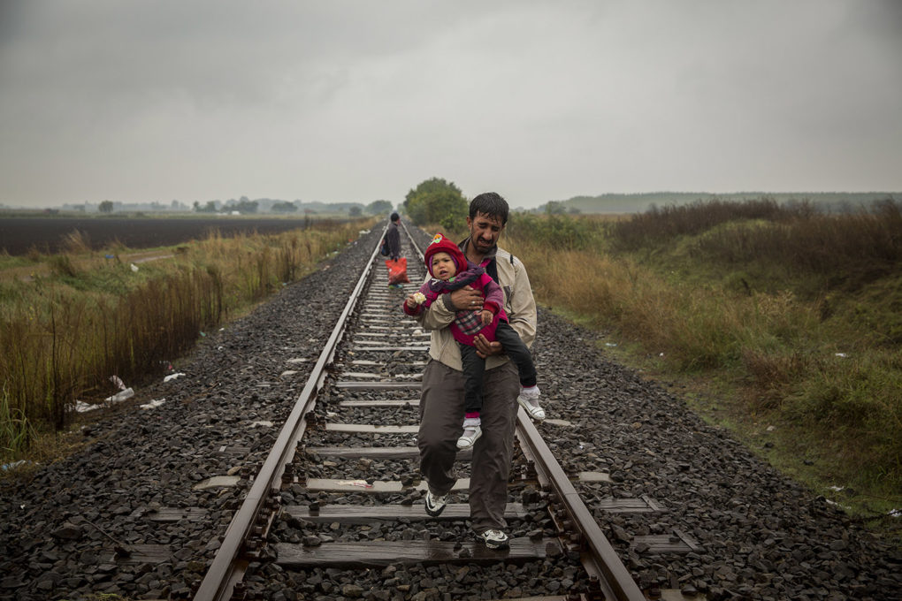 A father and his baby walking in the rail way in Hungary, a few metres of the border with Serbia.