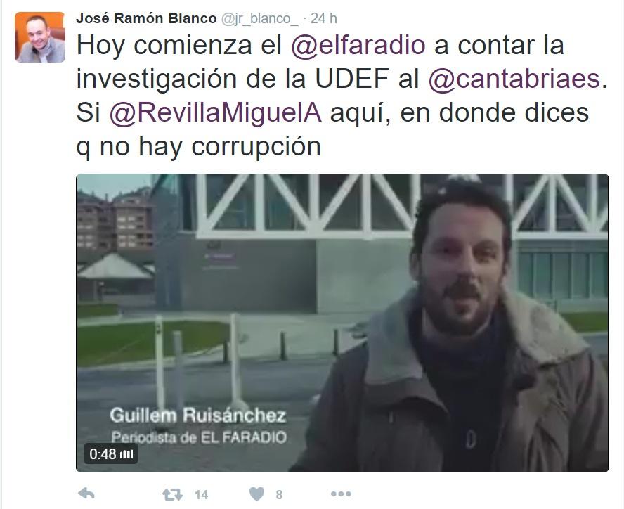 Otros miembros de la formación en Cantabria, como José Ramón Blanco, han sacado el tema para recordar a Revilla que sí hay corrupción.