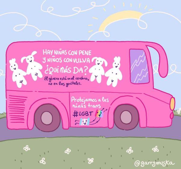 Vamos a cambiar el mensaje, por un autobús donde todxs lxs niñxs puedan entrar sin exclusión. (Imagen y texto de Dani Garrido).