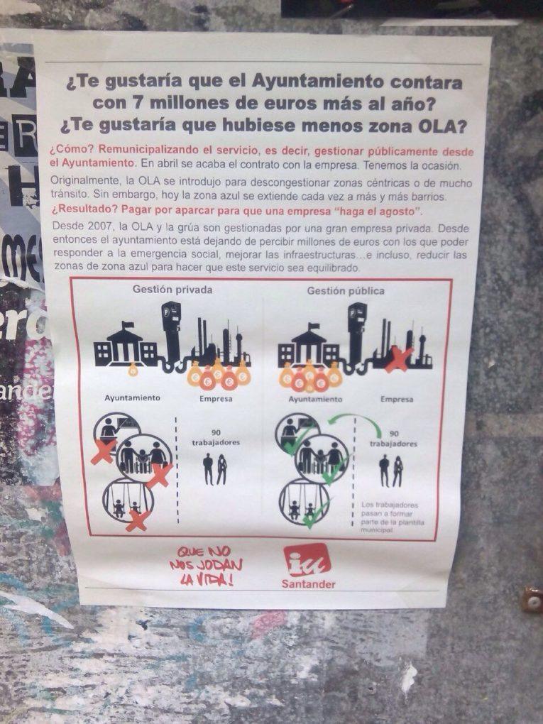 Cartelería de IU en su campaña para remunicipalizar la O.L.A.