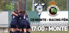 Cartel del derbi entre CD Monte y Racing Féminas